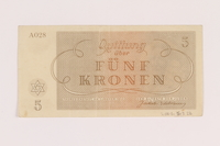 2005.517.22 back Theresienstadt ghetto-labor camp scrip, 5 kronen note  Click to enlarge