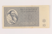 2005.517.23 front Theresienstadt ghetto-labor camp scrip, 10 kronen note  Click to enlarge