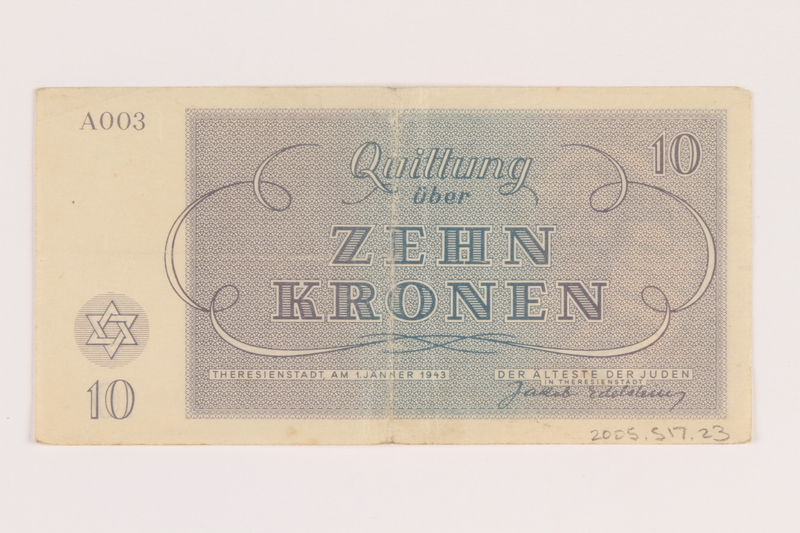 2005.517.23 back Theresienstadt ghetto-labor camp scrip, 10 kronen note