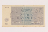 2005.517.23 back Theresienstadt ghetto-labor camp scrip, 10 kronen note  Click to enlarge