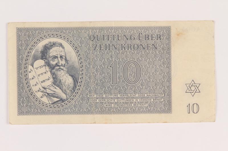 2005.517.24 front Theresienstadt ghetto-labor camp scrip, 10 kronen note