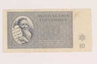 2005.517.24 front Theresienstadt ghetto-labor camp scrip, 10 kronen note  Click to enlarge