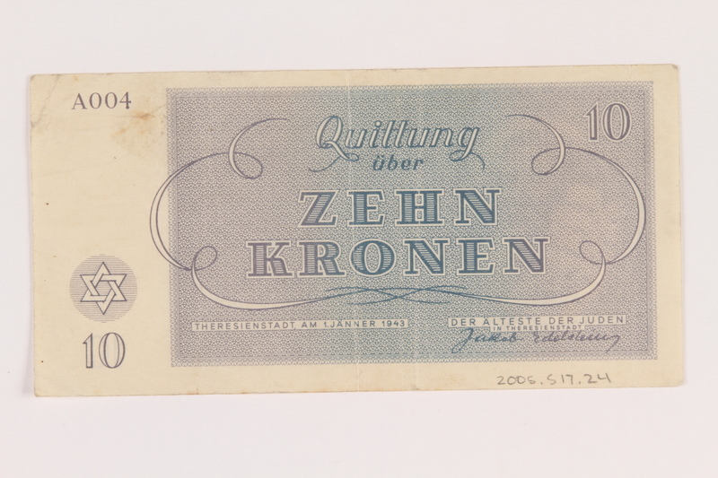 2005.517.24 back Theresienstadt ghetto-labor camp scrip, 10 kronen note
