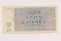 2005.517.24 back Theresienstadt ghetto-labor camp scrip, 10 kronen note  Click to enlarge