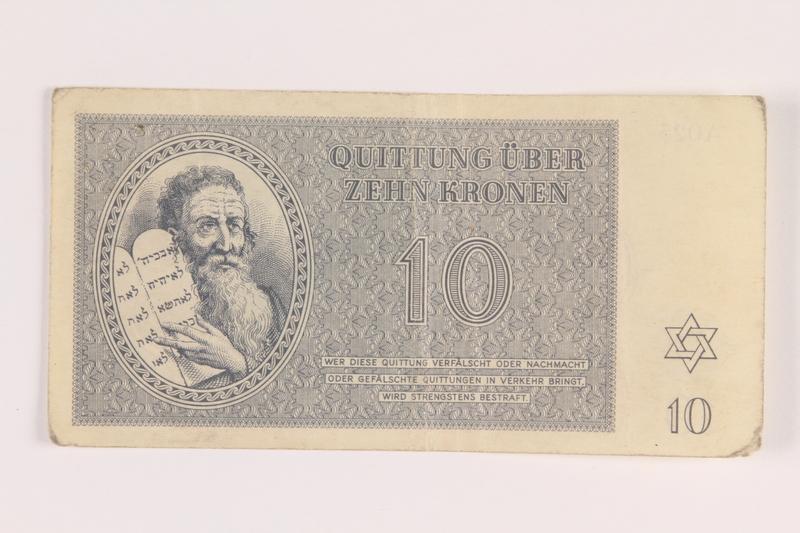 2005.517.25 front Theresienstadt ghetto-labor camp scrip, 10 kronen note