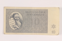 2005.517.25 front Theresienstadt ghetto-labor camp scrip, 10 kronen note  Click to enlarge