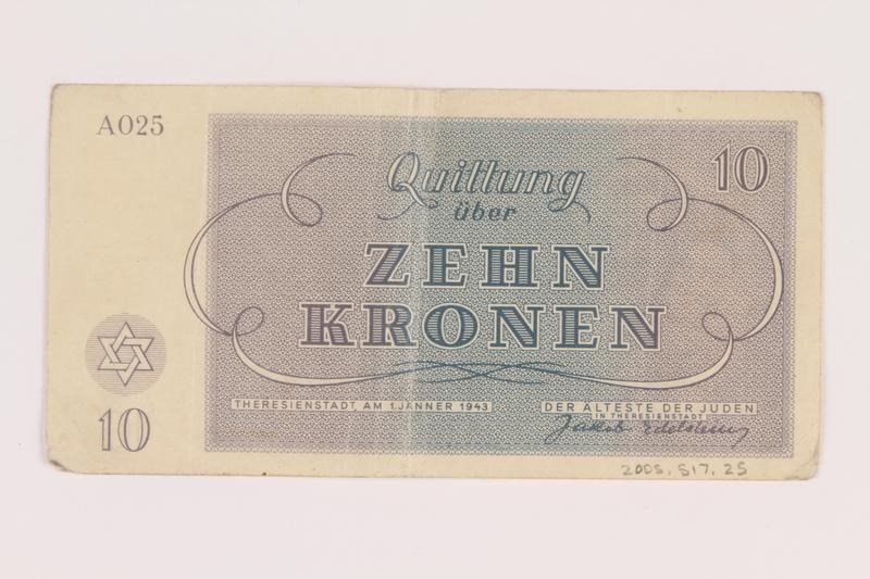 2005.517.25 back Theresienstadt ghetto-labor camp scrip, 10 kronen note