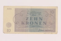 2005.517.25 back Theresienstadt ghetto-labor camp scrip, 10 kronen note  Click to enlarge