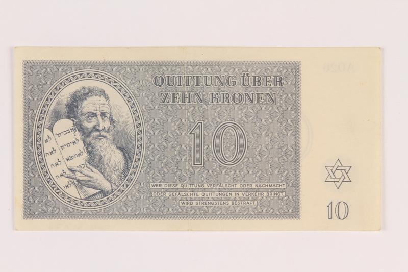 2005.517.26 front Theresienstadt ghetto-labor camp scrip, 10 kronen note