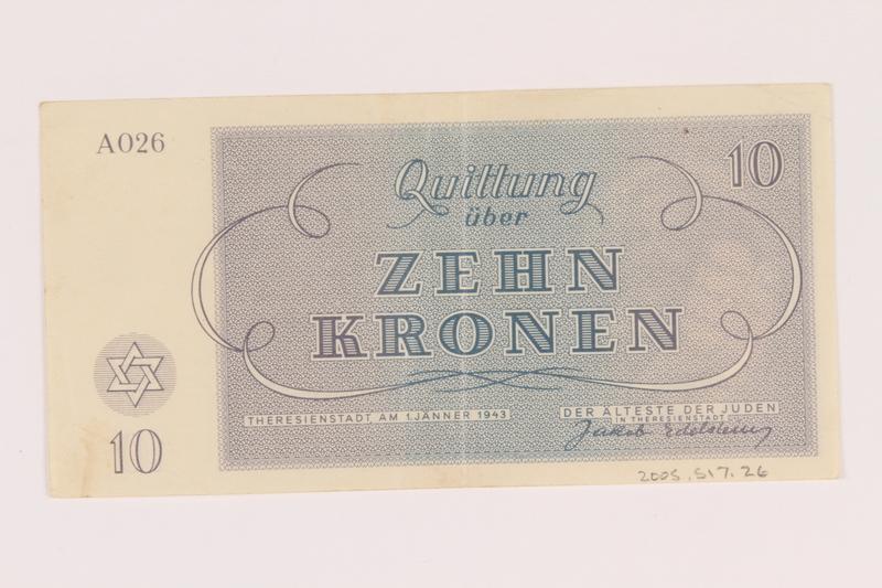 2005.517.26 back Theresienstadt ghetto-labor camp scrip, 10 kronen note