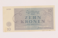 2005.517.26 back Theresienstadt ghetto-labor camp scrip, 10 kronen note  Click to enlarge
