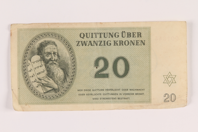 2005.517.27 front Theresienstadt ghetto-labor camp scrip, 20 kronen note