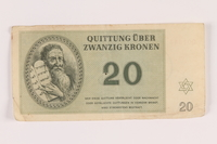 2005.517.27 front Theresienstadt ghetto-labor camp scrip, 20 kronen note  Click to enlarge