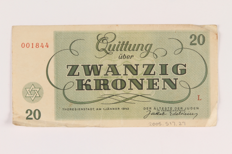 2005.517.27 back Theresienstadt ghetto-labor camp scrip, 20 kronen note