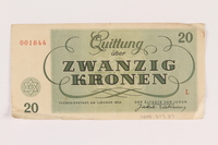 2005.517.27 back Theresienstadt ghetto-labor camp scrip, 20 kronen note  Click to enlarge