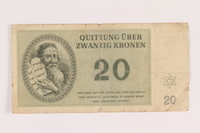 2005.517.28 front Theresienstadt ghetto-labor camp scrip, 20 kronen note  Click to enlarge