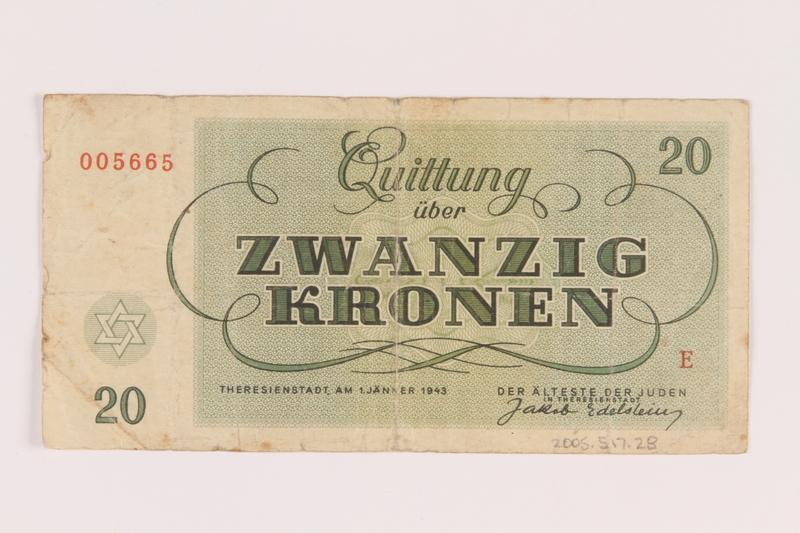 2005.517.28 back Theresienstadt ghetto-labor camp scrip, 20 kronen note