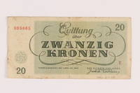 2005.517.28 back Theresienstadt ghetto-labor camp scrip, 20 kronen note  Click to enlarge