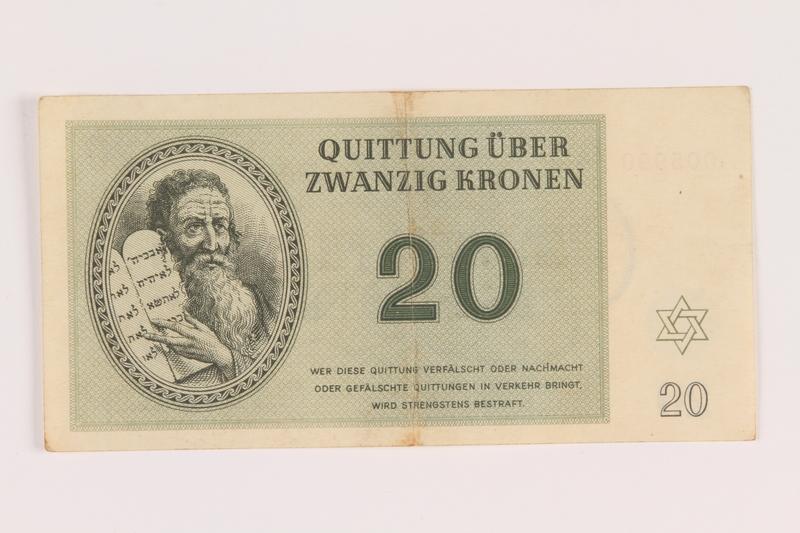 2005.517.29 front Theresienstadt ghetto-labor camp scrip, 20 kronen note