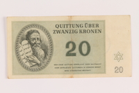 2005.517.29 front Theresienstadt ghetto-labor camp scrip, 20 kronen note  Click to enlarge