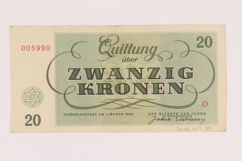 2005.517.29 back Theresienstadt ghetto-labor camp scrip, 20 kronen note