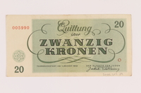2005.517.29 back Theresienstadt ghetto-labor camp scrip, 20 kronen note  Click to enlarge