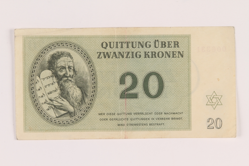 2005.517.30 front Theresienstadt ghetto-labor camp scrip, 20 kronen note