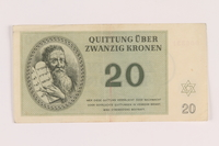 2005.517.30 front Theresienstadt ghetto-labor camp scrip, 20 kronen note  Click to enlarge
