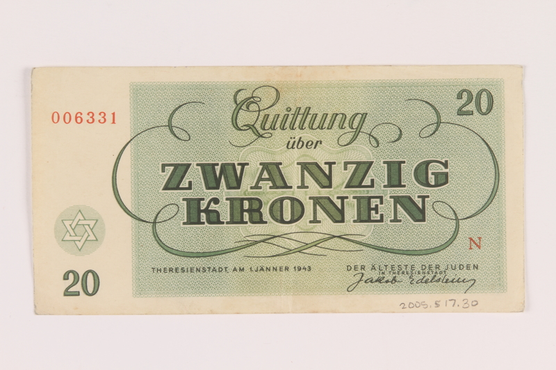 2005.517.30 back Theresienstadt ghetto-labor camp scrip, 20 kronen note