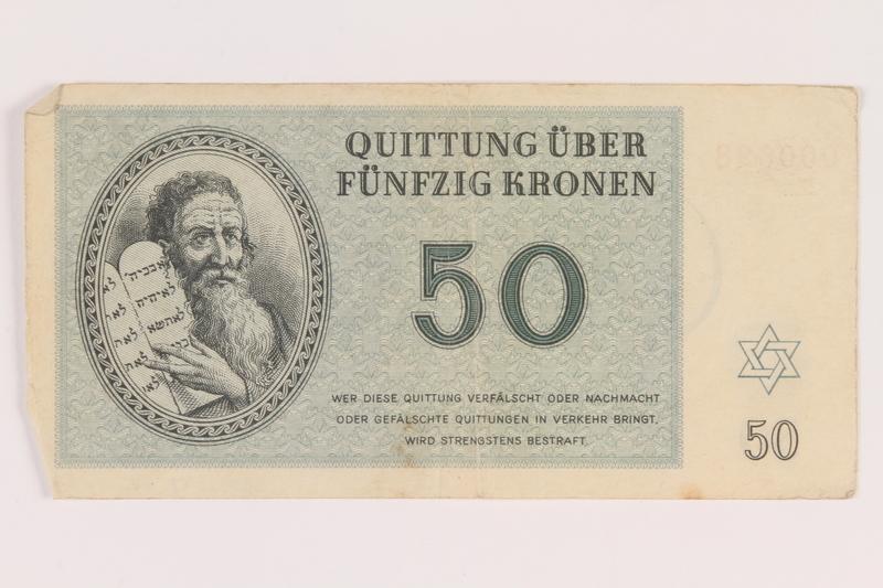 2005.517.32 front Theresienstadt ghetto-labor camp scrip, 50 kronen note