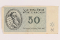 2005.517.32 front Theresienstadt ghetto-labor camp scrip, 50 kronen note  Click to enlarge