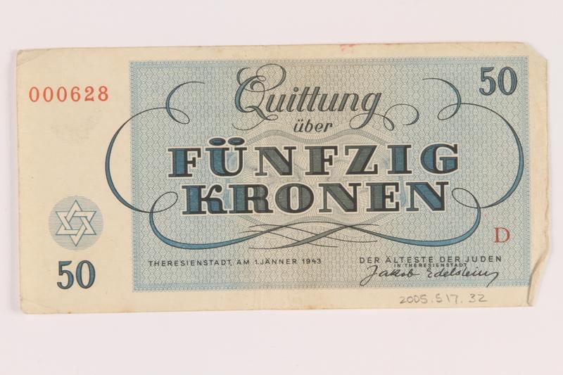 2005.517.32 back Theresienstadt ghetto-labor camp scrip, 50 kronen note