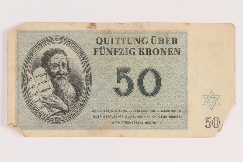 2005.517.33 front Theresienstadt ghetto-labor camp scrip, 50 kronen note