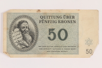 2005.517.33 front Theresienstadt ghetto-labor camp scrip, 50 kronen note  Click to enlarge