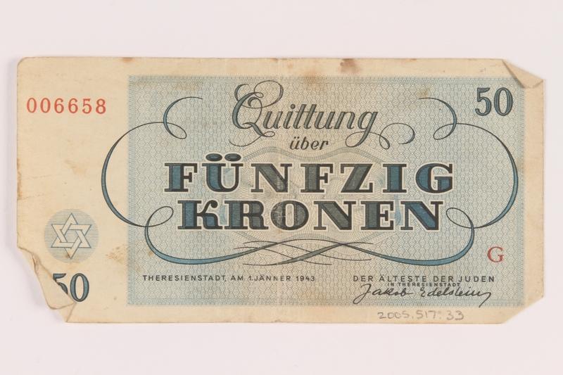 2005.517.33 back Theresienstadt ghetto-labor camp scrip, 50 kronen note