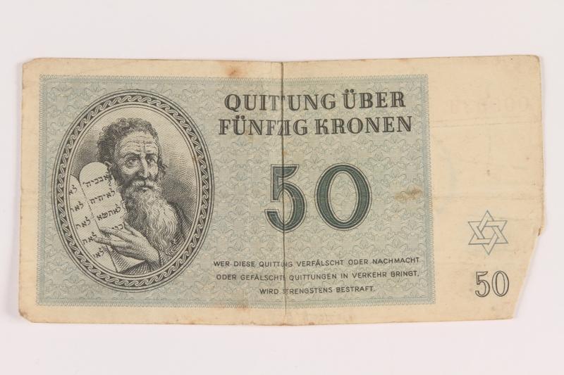 2005.517.34 front Theresienstadt ghetto-labor camp scrip, 50 kronen note