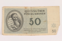 2005.517.34 front Theresienstadt ghetto-labor camp scrip, 50 kronen note  Click to enlarge