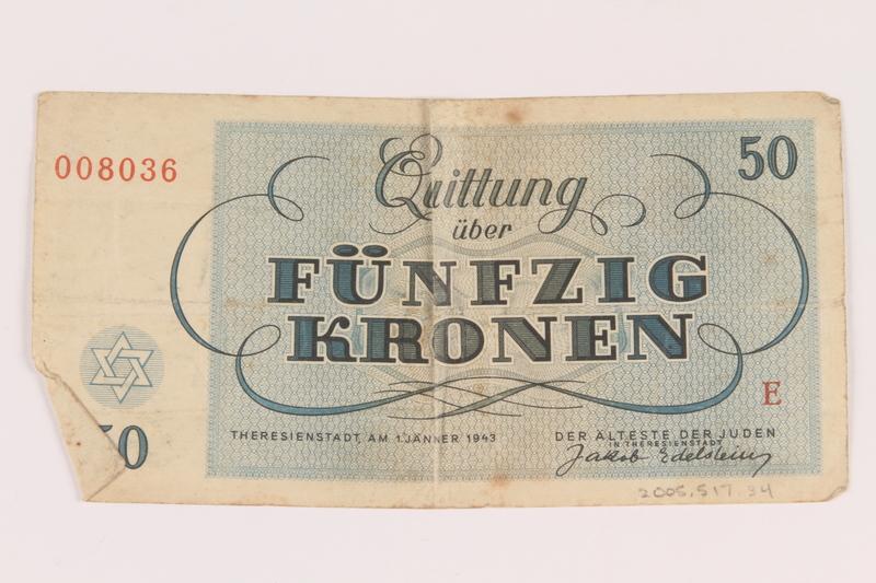 2005.517.34 back Theresienstadt ghetto-labor camp scrip, 50 kronen note