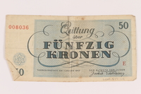 2005.517.34 back Theresienstadt ghetto-labor camp scrip, 50 kronen note  Click to enlarge