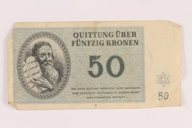 2005.517.35 front Theresienstadt ghetto-labor camp scrip, 50 kronen note