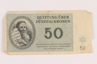 2005.517.35 front Theresienstadt ghetto-labor camp scrip, 50 kronen note  Click to enlarge