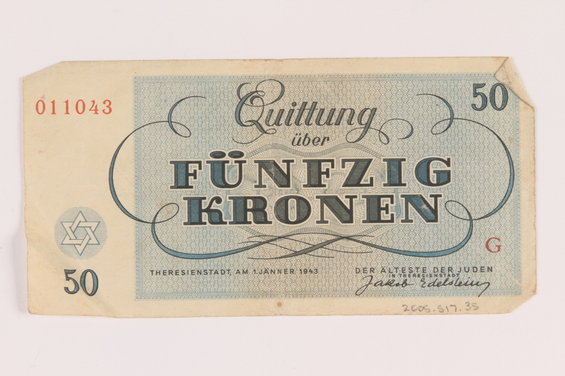 2005.517.35 back Theresienstadt ghetto-labor camp scrip, 50 kronen note