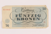 2005.517.35 back Theresienstadt ghetto-labor camp scrip, 50 kronen note  Click to enlarge