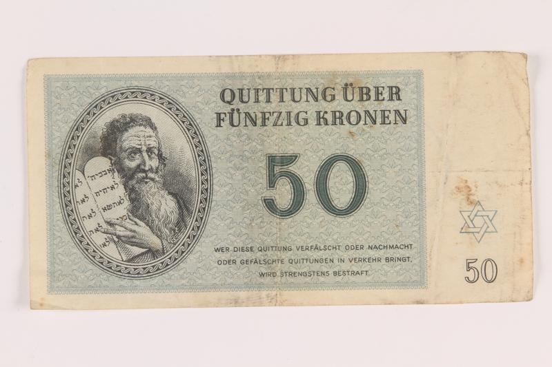 2005.517.36 front Theresienstadt ghetto-labor camp scrip, 50 kronen note