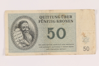 2005.517.36 front Theresienstadt ghetto-labor camp scrip, 50 kronen note  Click to enlarge