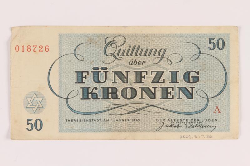 2005.517.36 back Theresienstadt ghetto-labor camp scrip, 50 kronen note