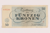 2005.517.36 back Theresienstadt ghetto-labor camp scrip, 50 kronen note  Click to enlarge