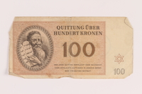 2005.517.37 front Theresienstadt ghetto-labor camp scrip, 100 kronen note  Click to enlarge