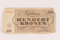 2005.517.37 back Theresienstadt ghetto-labor camp scrip, 100 kronen note  Click to enlarge