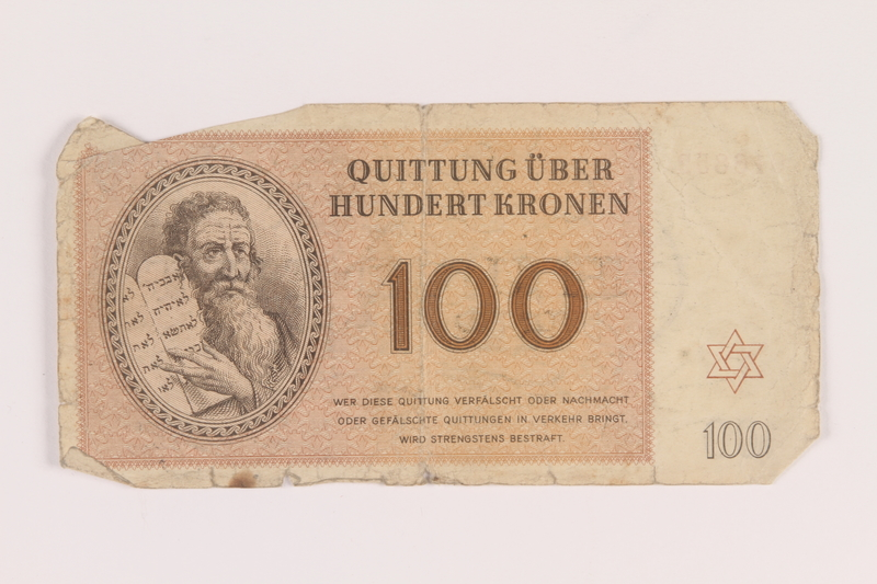 2005.517.38 front Theresienstadt ghetto-labor camp scrip, 100 kronen note